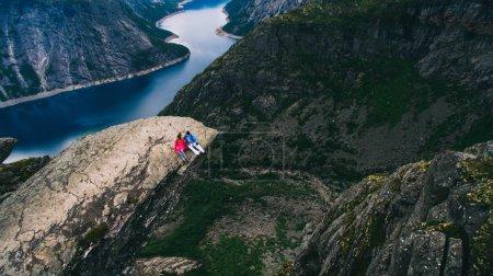 Resting above the fjord - view from Breiskrednosi near Gudvangen, Naeroyfjord, Norway