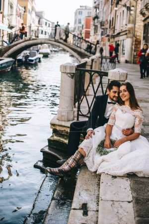 Beautiful married  couple on the street of Venice
