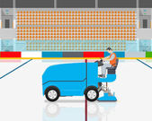 Stadium worker cleans rink on blue modern car cleaning ice Vector illustration