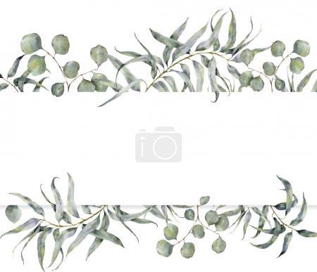 Photo pour Carte aquarelle avec branche d'eucalyptus. Cadre floral peint à la main avec des feuilles rondes d'eucalyptus dollar argent isolé sur fond blanc. Pour la conception ou l'impression . - image libre de droit