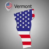 Vector map with US flag inside of VermontMap pointer with American flag