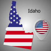 Idaho State map with US flag inside and Map pointer with American flag