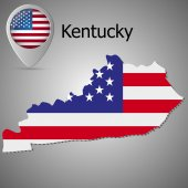 Kentucky State map with US flag inside and Map pointer with American flag