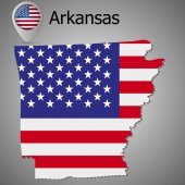 Arkansas State map with US flag inside and Map pointer with American flag