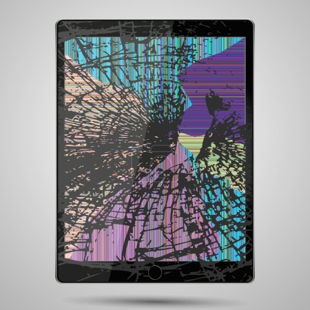 tablet computer with broken glass screen isolated on gray background