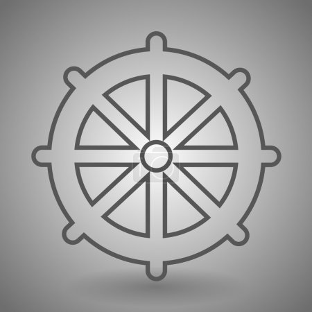 Ship steering wheel icon. Captain rudder sign. Sailing symbol. Linear outline icon.