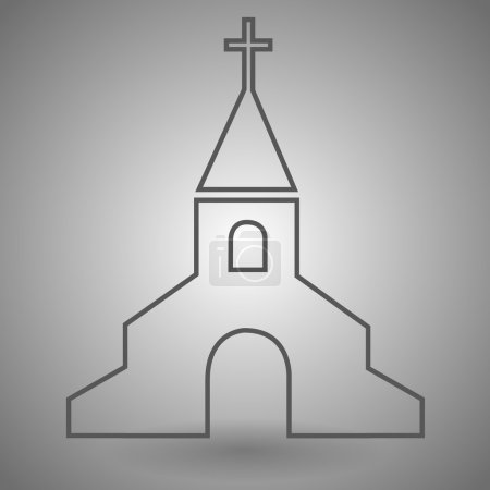 Church Outline Icon vector illustration on gray background