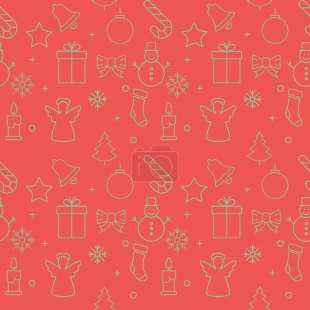 Illustration for Christmas background, seamless tiling, great choice for wrapping paper pattern. - Royalty Free Image