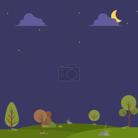 Illustration for Landscape: summer green forest glade and blue sky, beautiful background. - Royalty Free Image
