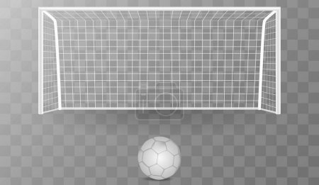 Football goal with shadow isolated on a transparent background with a soccer ball. soccer goal vector illustration.