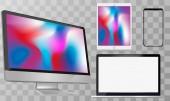 Computer Screen Laptop Tablet PC Smart Phone Vector illustration