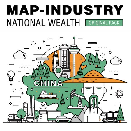 moderne ländliche Entwicklung flache Industrie. dünnes Kartenkonzept