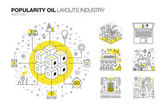 Popularity modern layouts oil industry in new flat line style