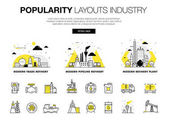 Popularity modern layouts global industry in new flat line style