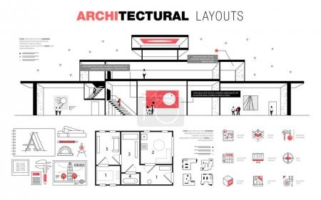 Architectural layouts in trendy polygonal  line composition