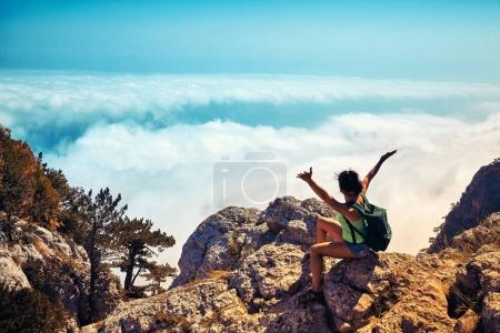 Photo for Travel Lifestyle emotional concept adventure summer vacations outdoor hiking mountaineering harmony with nature - Royalty Free Image