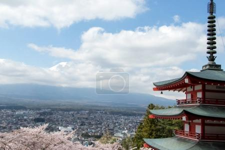 Chureito pagoda and cherry blossom as foreground and mount fuji as background, travel destination in japan