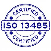Grunge blue ISO 13485 certified rubber stamp