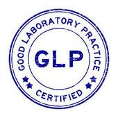 Grunge blue GLP (Good Laboratory Practice) certified round rubber stamp