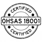 Grunge black OHSAS 18001 certified round rubber stamp