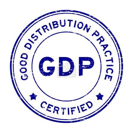 Illustration pour Grunge blue GDP (Bonnes pratiques de distribution) tampon caoutchouc rond certifié - image libre de droit