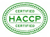 Grunge green HACCP (Hazard analysis and critical control points) oval rubber seal stamp