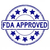 Grunge blue FDA approved with star icon round rubber seal stamp on white background