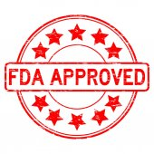 Grunge red FDA approved with star icon round rubber seal stamp on white background
