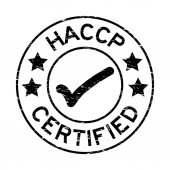 Grunge black HACCP (Hazard Analysis Critical Control Point ) certified round rubber stamp on white background