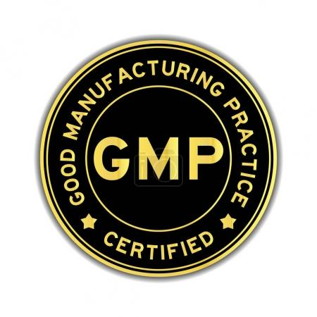 Illustration for Black and gold color GMP (Good Manufacturing Practice) certified round sticker on white background - Royalty Free Image