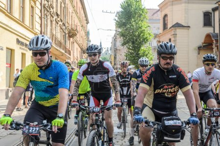 LVIV, UKRAINE - MAY 2018:  A cyclone in a bicycle ...