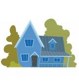 Cute bright blue house
