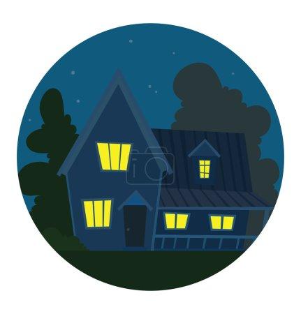Round night frame, cute bright blue house