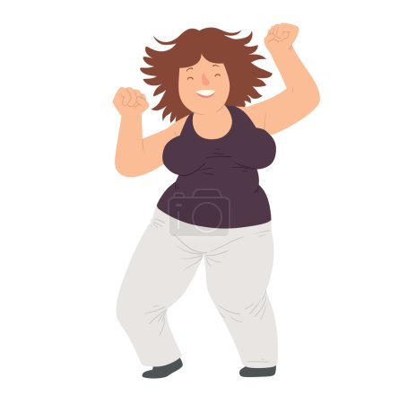 Illustration for Vector cartoon image of an overweight woman with wavy brown hair in white pants and black t-shirt dancing and smiling on white background. Happy overweight woman. Vector illustration - Royalty Free Image