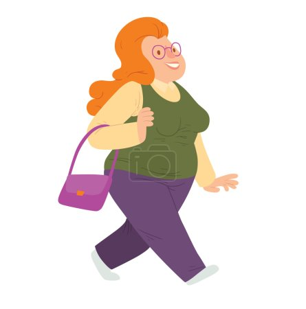 Illustration for Vector cartoon image of an overweight  woman with long red hair in glasses, purple pants and green-yellow blouse walking and smiling on a white background. Happy overweight woman. Vector illustration - Royalty Free Image