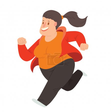 Illustration for Vector cartoon image of an overweight woman with long black hair in black pants, orange t-shirt and red jacket running and smiling on a white background. Happy overweight woman. Vector illustration. - Royalty Free Image