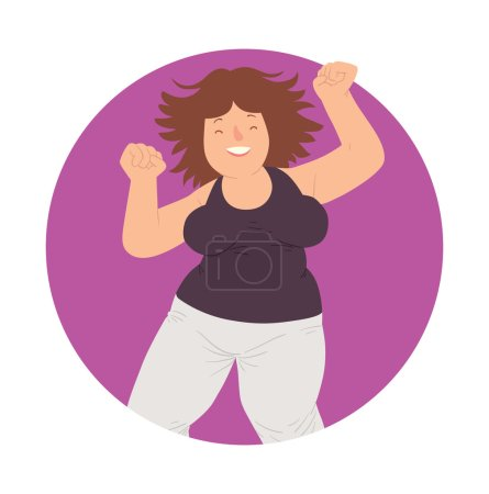 Illustration for Vector image of a purple round frame with cartoon image of a happy overweight woman with wavy brown hair in white pants and black t-shirt dancing and smiling in the center on a white background. - Royalty Free Image