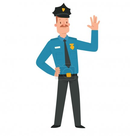 Illustration for Vector cartoon image of a man police officer with brown hair and mustache in black-blue police uniform, a black cap standing and smiling on a white background. Vector illustration of police. - Royalty Free Image