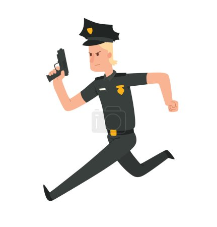 Man police officer with blond hair