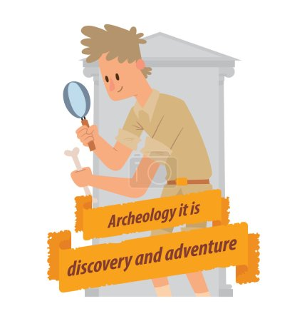Emblem, archaeologist man with a magnifying glass