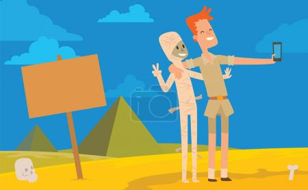 Card, archaeologist man doing selfie with a mummy