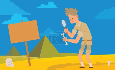 Card, archaeologist man with a magnifying glass