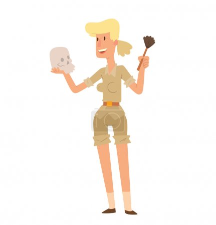 Archaeologist woman with skull and brush