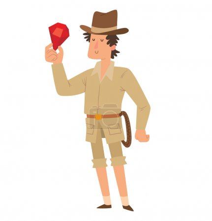 Archaeologist man with a red jewel