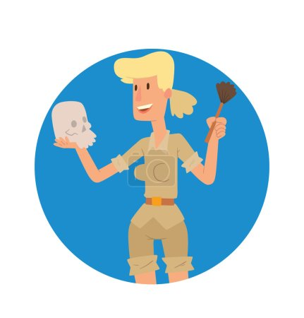 Round blue frame, archaeologist woman with a skull and brush