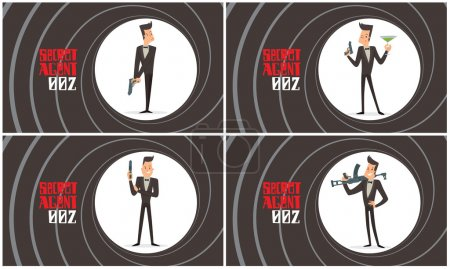 Illustration for Vector set of images of a black backgrounds in the form of a gun barrel with cartoon images of funny super agents with black hair in black tuxedo with guns in their hands in the center. Spy, detective - Royalty Free Image