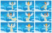 Set of blue cards with angels