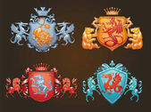 Set of various heraldic shields with different animals color im