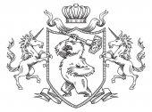 Heraldic shield with bear and unicorns line art