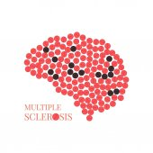Multiple sclerosis poster with brain